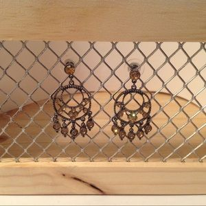 Charcoal Tone Amber Crystals Earrings